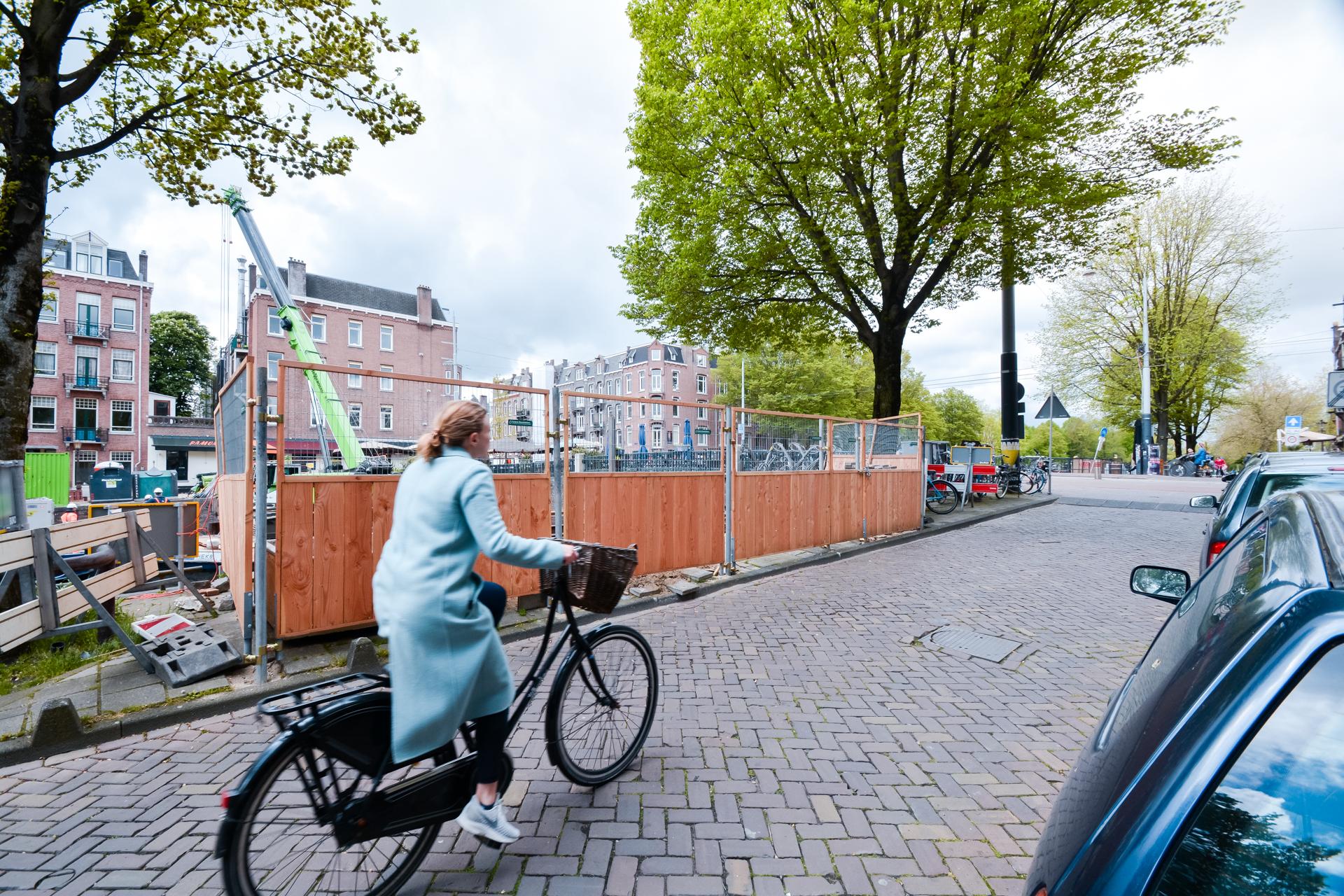 Groene Bouwhekken Oranje Loper Amsterdam
